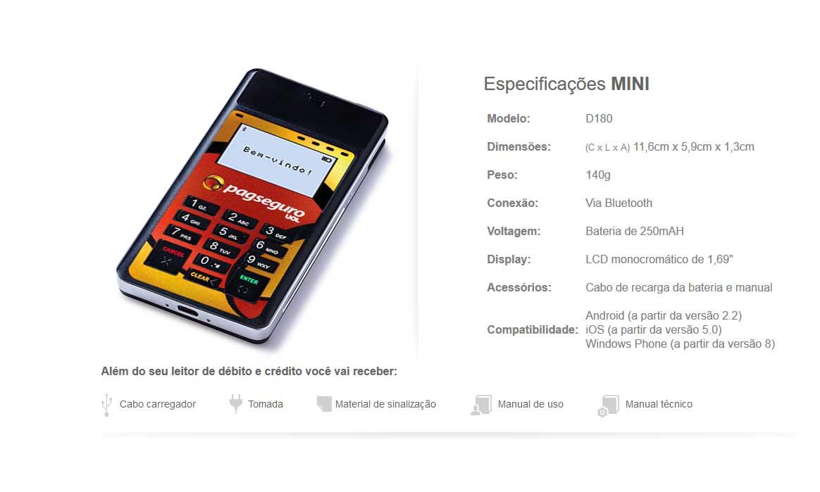 Especificações técnicas leitor Mini PagSeguro
